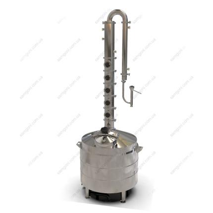 Дистиллятор «Элит» 127 литров с медными тарелками, дефлегматором, кожухотрубным конденсатором и попугаем