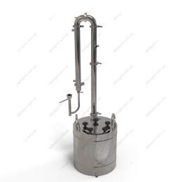 Дистиллятор с дефлегматором-ароматизатором, кожухотрубным конденсатором и попугаем