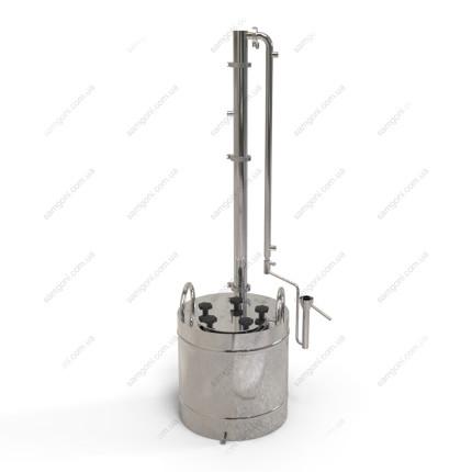 Дистиллятор с дефлегматором-ароматизатором, проточным конденсатором и попугаем